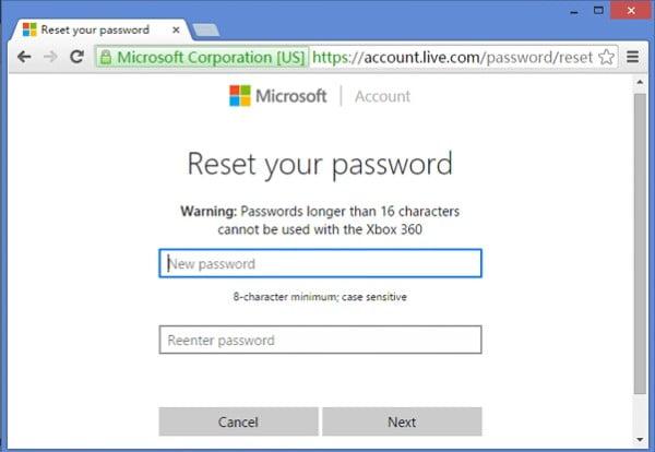 đặt lại mật khẩu microsoft