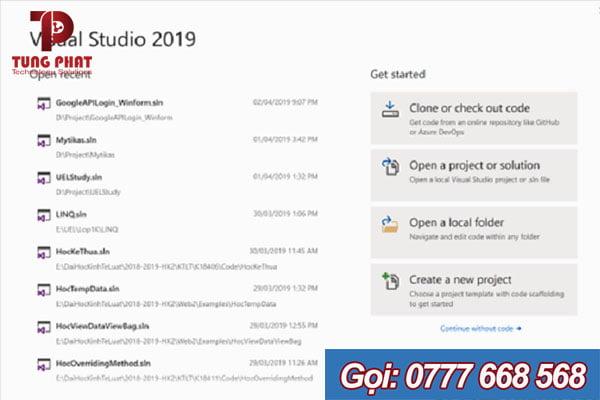 bắt đầu visual studio 2019