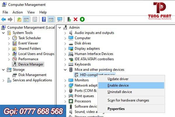 chọn enable device driver chuột máy tính