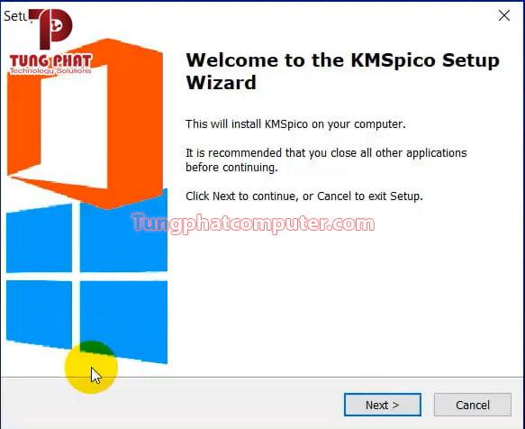 Nhấn Next để bắt đầu cài đặt KMSpico 11
