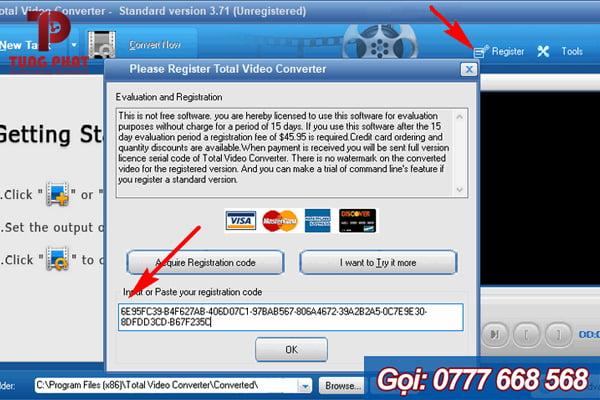 Nhập key Total Video Converter 3.71 để kich hoat bản quyền