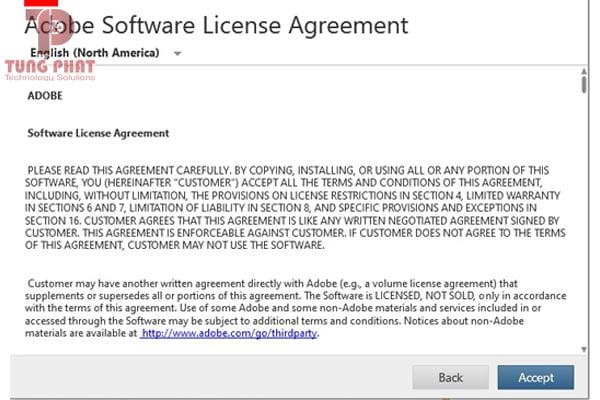 Nhấn Accept để chấp nhận điều khoản Adobe Photoshop CS6
