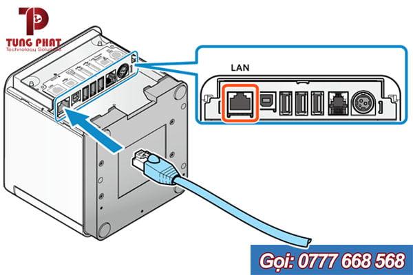 Cắm công mạng LAN vào máy in