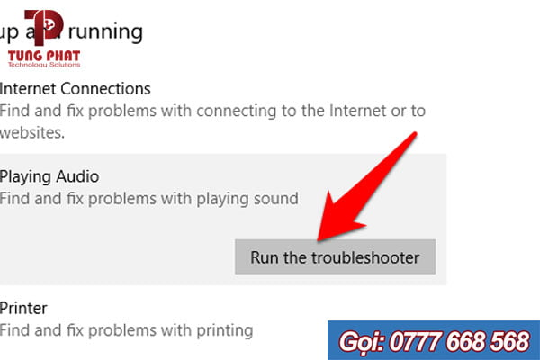 Run the troubleshooter Playing Audio