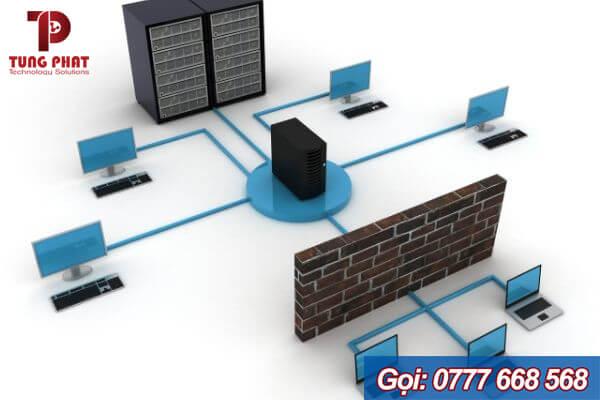 mô hình mạng máy tính cty có máy chủ và tường lửa