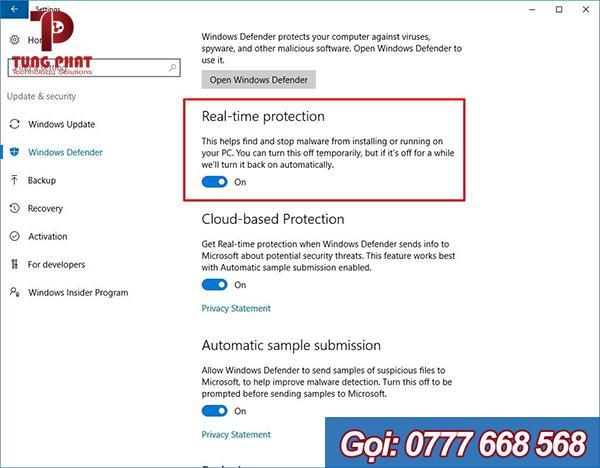 Tắt phần mềm diệt virus Windows Defender thông qua Settings