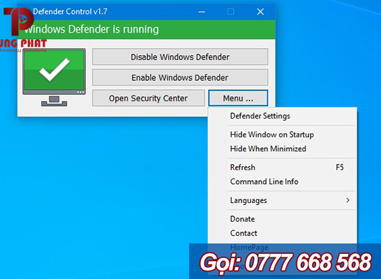 Tắt phần mềm diệt virus Windows Defender bằng Defender Control